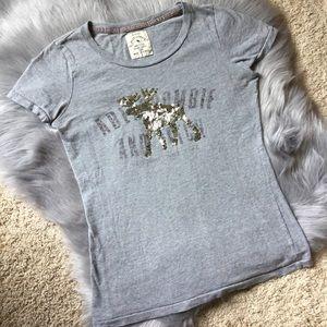EUC Abercrombie sequined deer gray t shirt